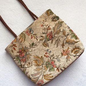 Vintage Floral Tapestry Handbag